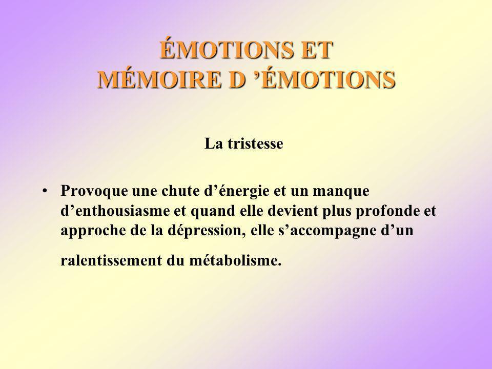 ÉMOTIONS ET MÉMOIRE D ÉMOTIONS La tristesse Provoque une chute dénergie et un manque denthousiasme et quand elle devient plus profonde et approche de la dépression, elle saccompagne dun ralentissement du métabolisme.