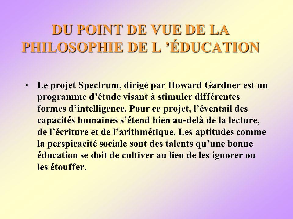 DU POINT DE VUE DE LA PHILOSOPHIE DE L ÉDUCATION Le projet Spectrum, dirigé par Howard Gardner est un programme détude visant à stimuler différentes formes dintelligence.