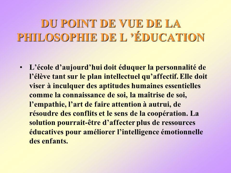 DU POINT DE VUE DE LA PHILOSOPHIE DE L ÉDUCATION Lécole daujourdhui doit éduquer la personnalité de lélève tant sur le plan intellectuel quaffectif.