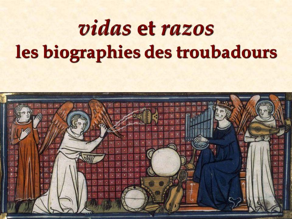 vidas et razos 1208-1229: croisade contre les cathares albigeois Diaspora des troubadours en Catalogne et en Italie 1220?: Uc de Saint-Circ arrive à Trévise Uc de Saint-Circ fait connaître la lyrique des trouba- dours à la cour dEzzelin et Albéric da Romano Uc de Saint-Circ organise des nouvelles anthologies de la lyrique des troubadours 1220-1240?: Uc de Saint-Circ écrit des textes introductifs à quelques chansons, visant à en éclaircir les circon- stances de la composition et le contenu 1240-1250?: Uc de Saint-Circ compose des courtes notices biographiques sur les troubadours ( vidas )