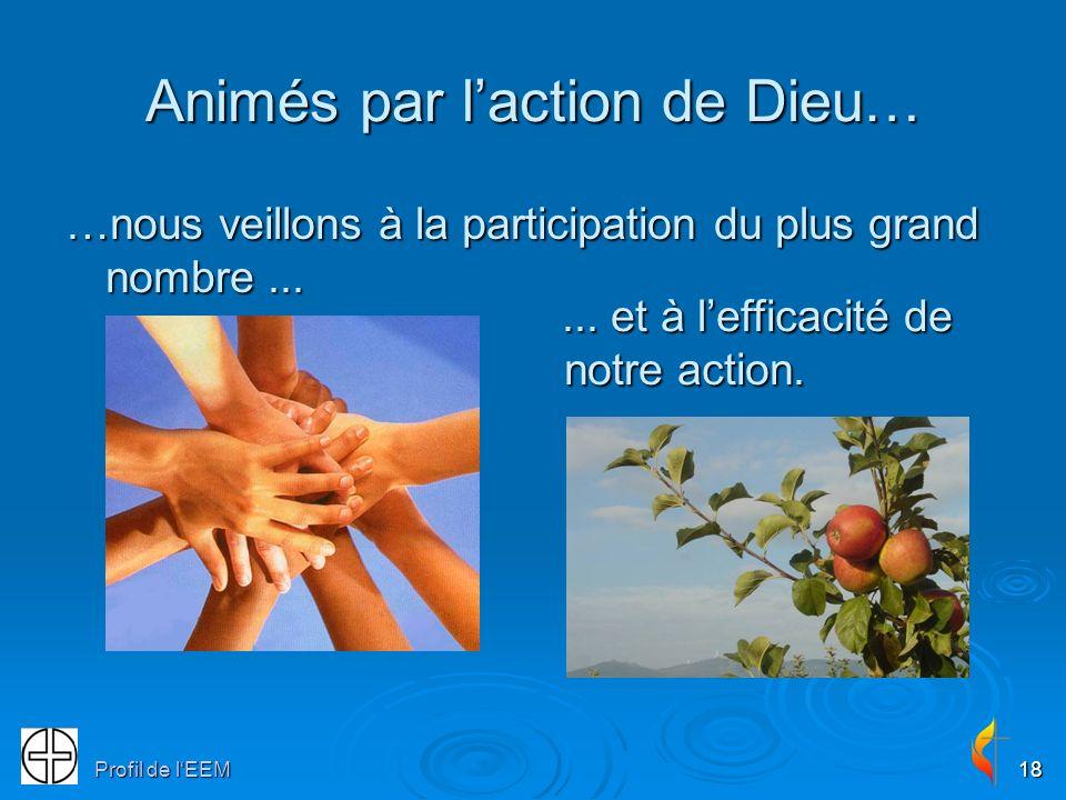 Profil de lEEM18 Animés par laction de Dieu… …nous veillons à la participation du plus grand nombre...... et à lefficacité de notre action.... et à le
