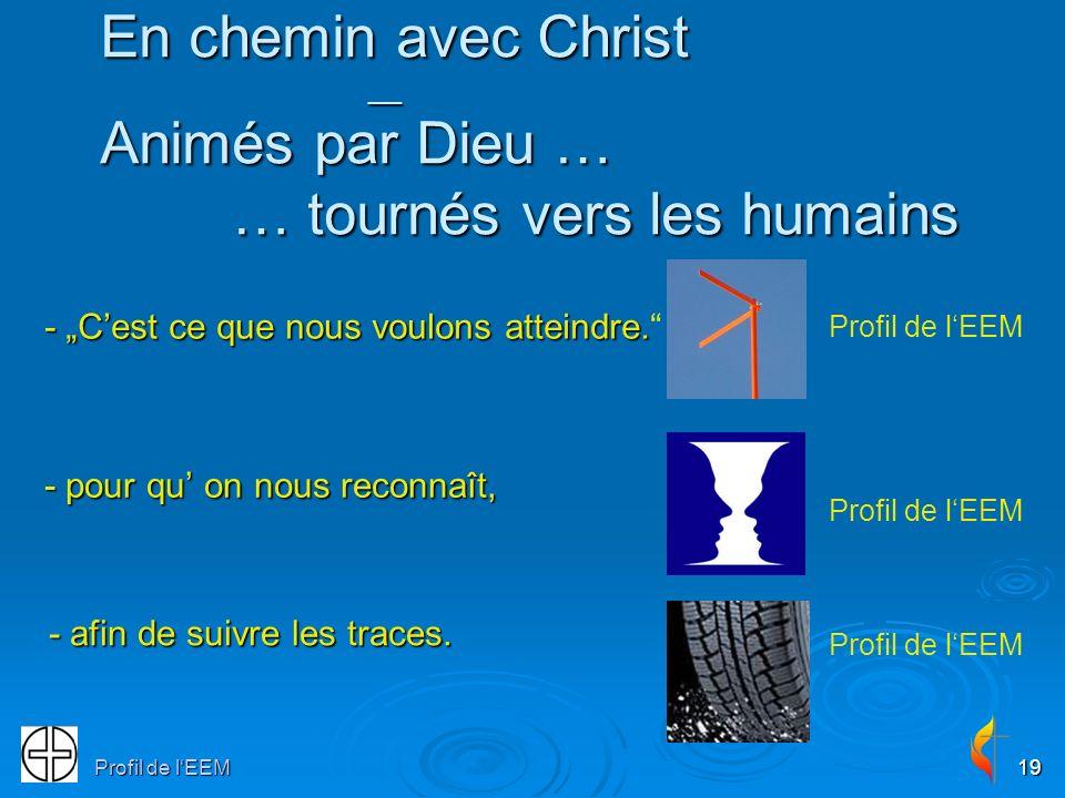 Profil de lEEM19 En chemin avec Christ __ Animés par Dieu … … tournés vers les humains - pour qu on nous reconnaît, - Cest ce que nous voulons atteindre.