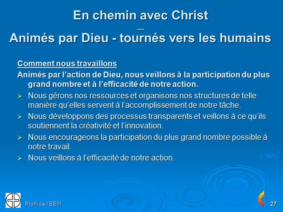 Profil de lEEM27 En chemin avec Christ __ Animés par Dieu - tournés vers les humains Comment nous travaillons Animés par laction de Dieu, nous veillons à la participation du plus grand nombre et à lefficacité de notre action.