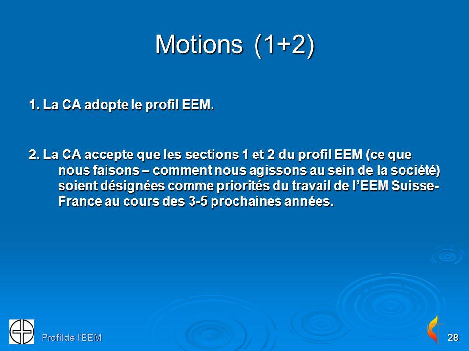 Profil de lEEM28 Motions (1+2) 1. La CA adopte le profil EEM. 2. La CA accepte que les sections 1 et 2 du profil EEM (ce que nous faisons – comment no