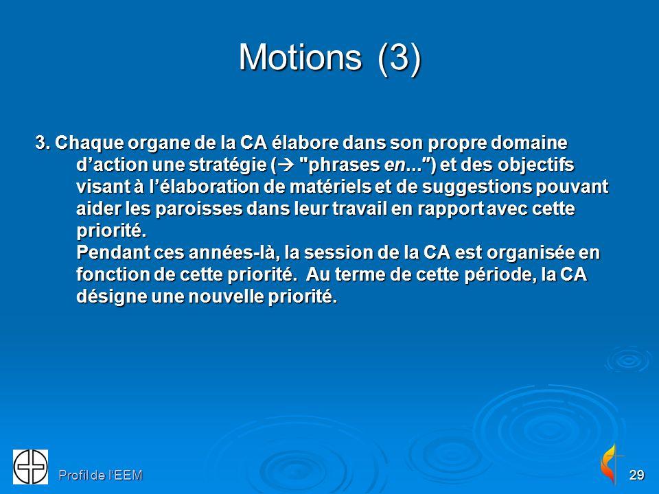 Profil de lEEM29 Motions (3) 3. Chaque organe de la CA élabore dans son propre domaine daction une stratégie (