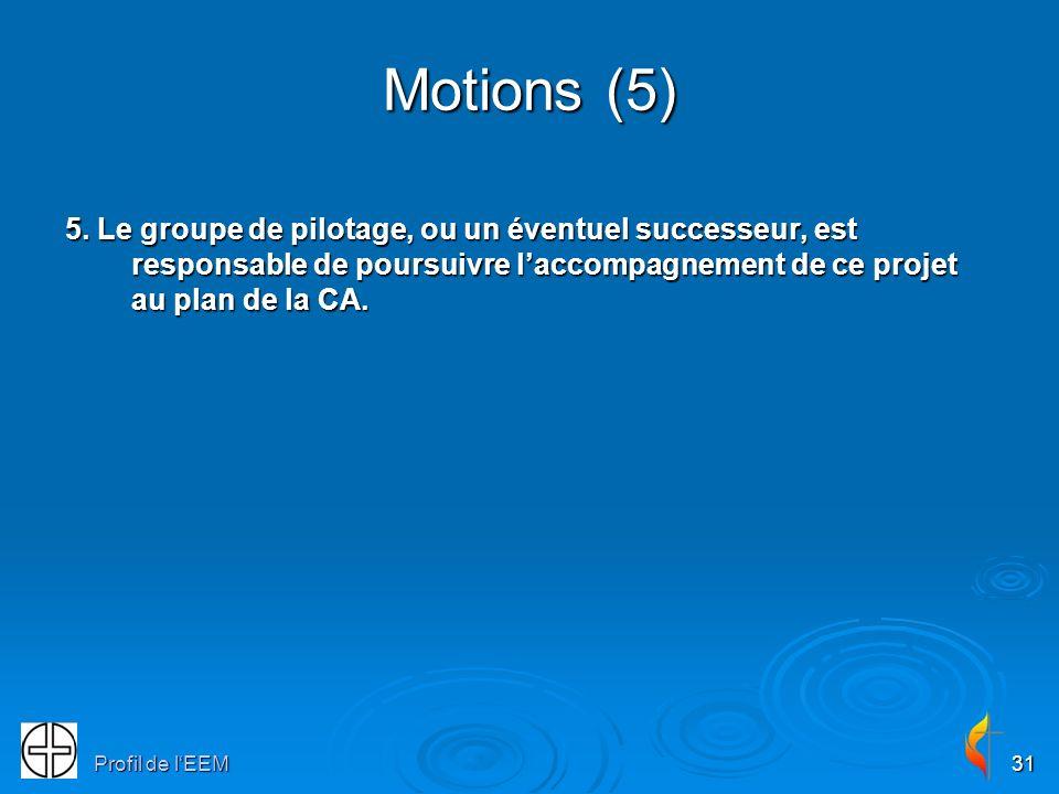 Profil de lEEM31 Motions (5) 5. Le groupe de pilotage, ou un éventuel successeur, est responsable de poursuivre laccompagnement de ce projet au plan d