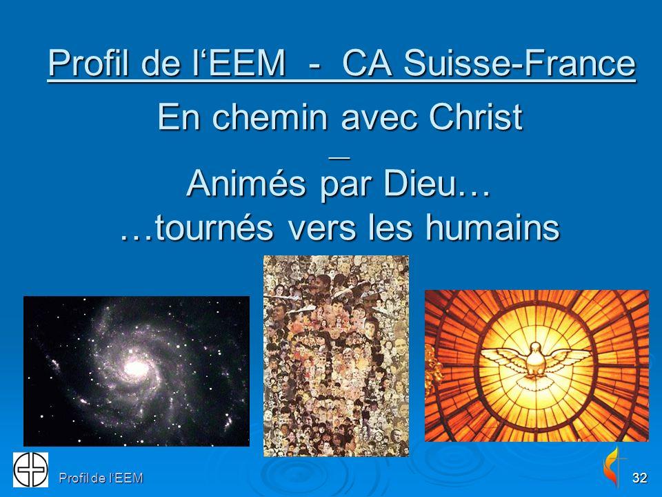 Profil de lEEM32 Profil de lEEM - CA Suisse-France En chemin avec Christ __ Animés par Dieu… …tournés vers les humains
