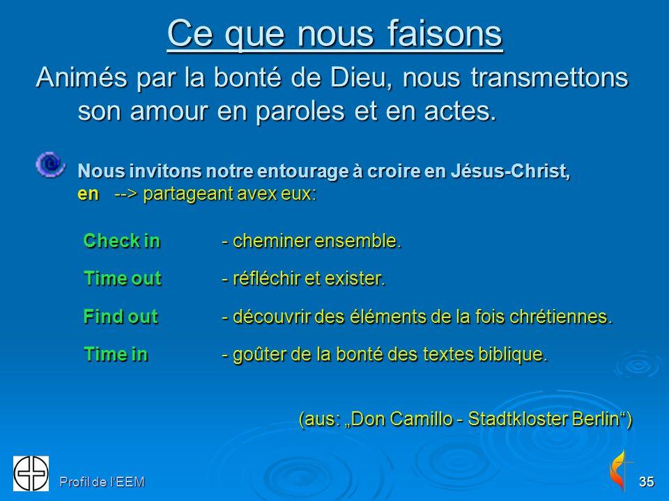 Profil de lEEM35 Ce que nous faisons Animés par la bonté de Dieu, nous transmettons son amour en paroles et en actes. Nous invitons notre entourage à