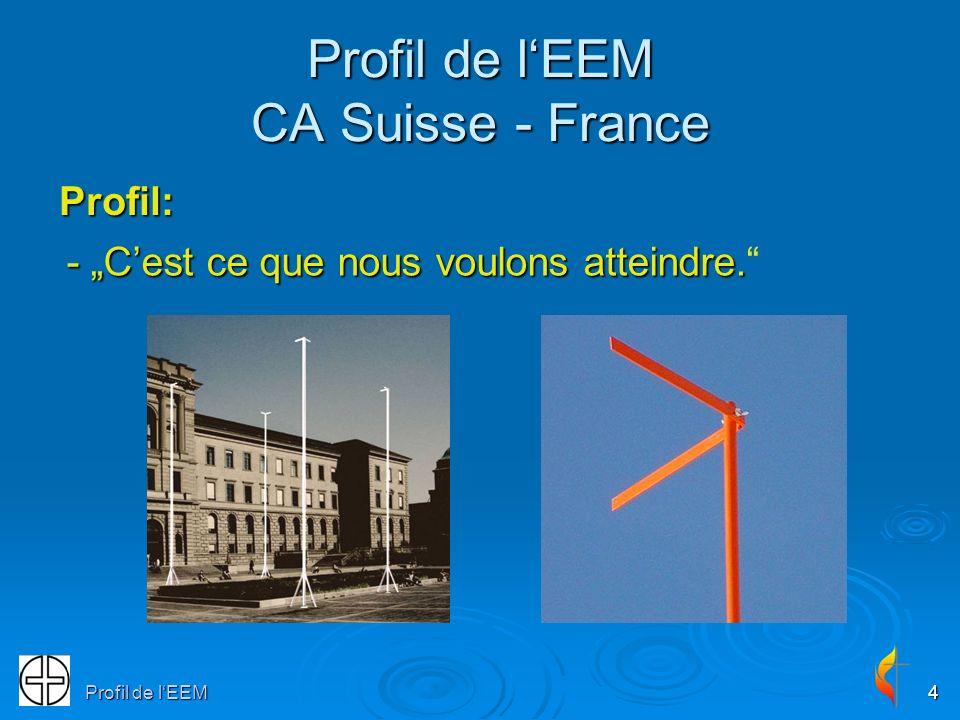 Profil de lEEM4 Profil de lEEM CA Suisse - France Profil: - Cest ce que nous voulons atteindre. - Cest ce que nous voulons atteindre.