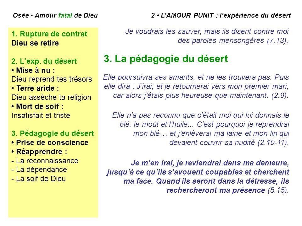 Osée Amour fatal de Dieu 2 LAMOUR PUNIT : lexpérience du désert 3.