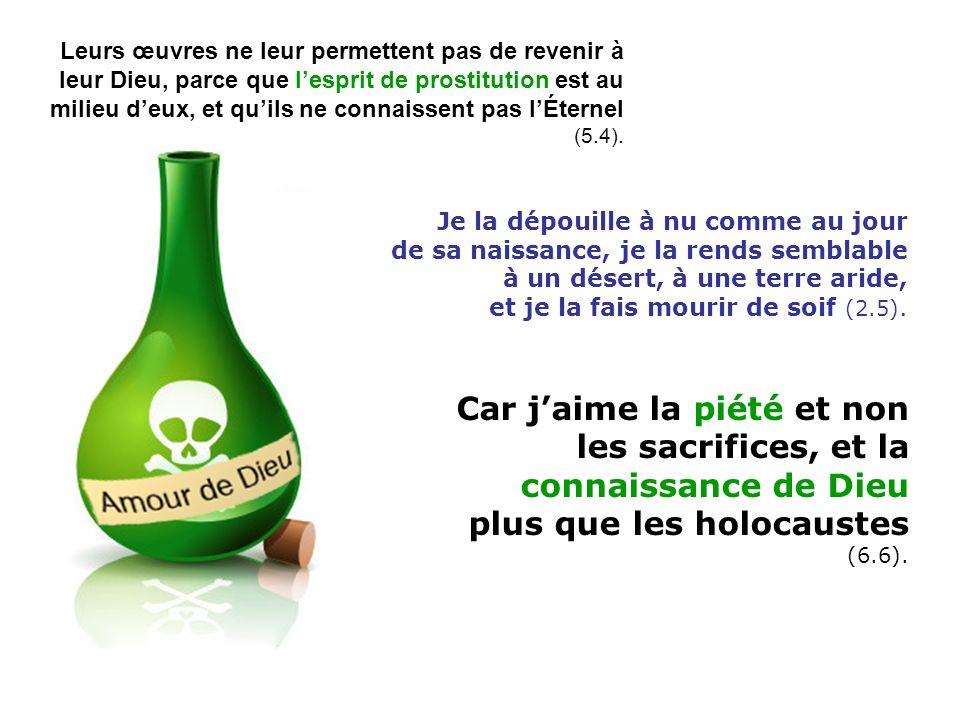 Car jaime la piété et non les sacrifices, et la connaissance de Dieu plus que les holocaustes (6.6).