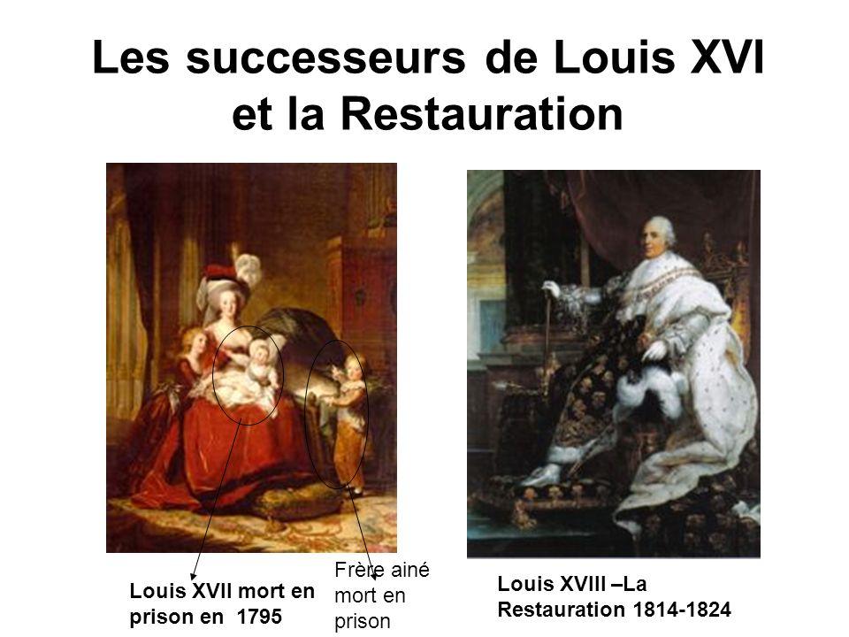 Les successeurs de Louis XVI et la Restauration Louis XVII mort en prison en 1795 Louis XVIII –La Restauration 1814-1824 Frère ainé mort en prison