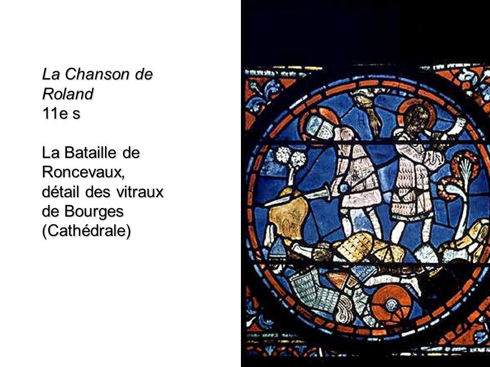 La Chanson de Roland 11e s La Bataille de Roncevaux, détail des vitraux de Bourges (Cathédrale)