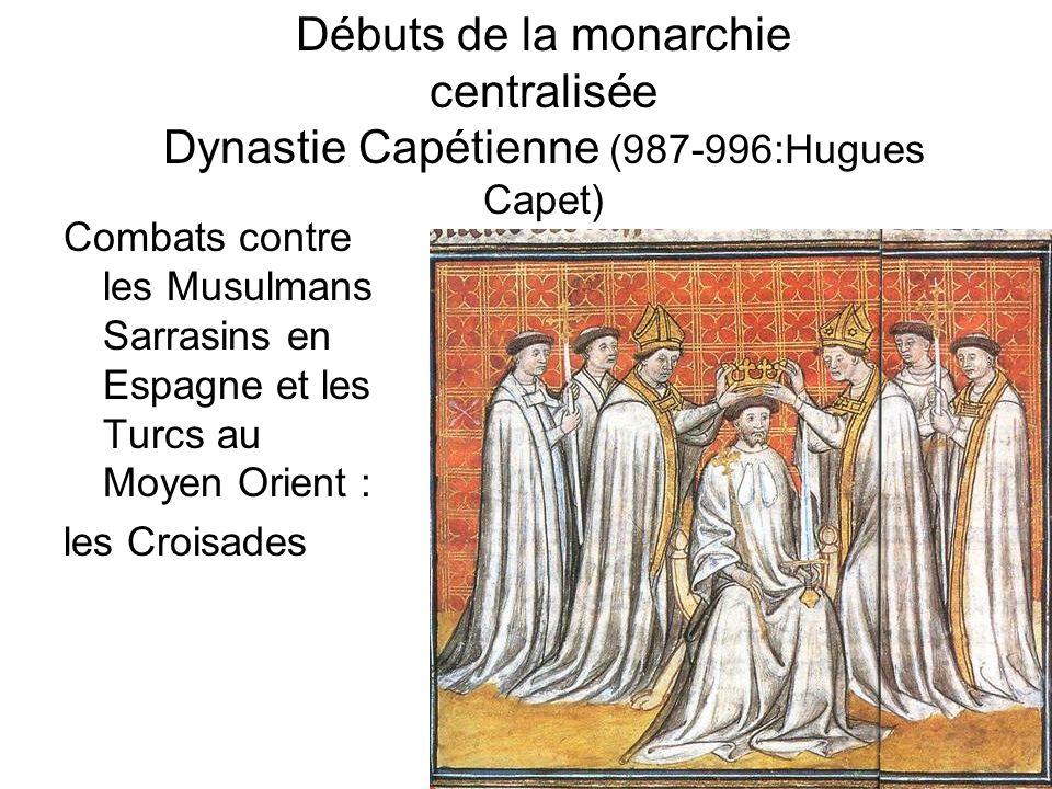 Débuts de la monarchie centralisée Dynastie Capétienne (987-996:Hugues Capet) Combats contre les Musulmans Sarrasins en Espagne et les Turcs au Moyen Orient : les Croisades