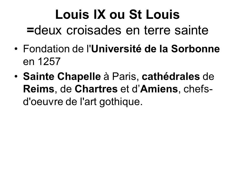 Louis IX ou St Louis =deux croisades en terre sainte Fondation de l Université de la Sorbonne en 1257 Sainte Chapelle à Paris, cathédrales de Reims, de Chartres et dAmiens, chefs- d oeuvre de l art gothique.