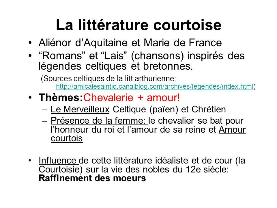 La littérature courtoise Aliénor dAquitaine et Marie de France Romans et Lais (chansons) inspirés des légendes celtiques et bretonnes.
