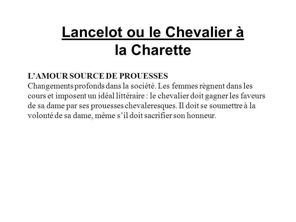 Lancelot ou le Chevalier à la Charette LAMOUR SOURCE DE PROUESSES Changements profonds dans la société.