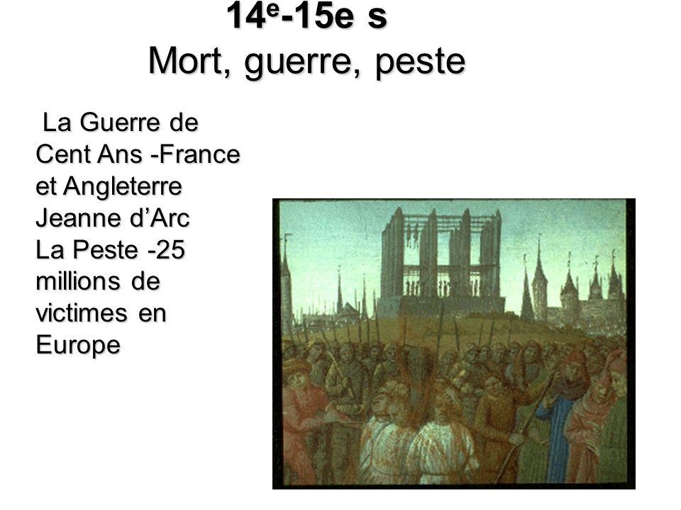 14 e -15e s Mort, guerre, peste La Guerre de Cent Ans -France et Angleterre Jeanne dArc La Peste -25 millions de victimes en Europe