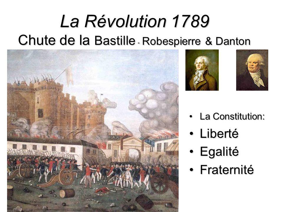 La Révolution 1789 Chute de la Bastille - Robespierre & Danton La Constitution:La Constitution: LibertéLiberté EgalitéEgalité FraternitéFraternité