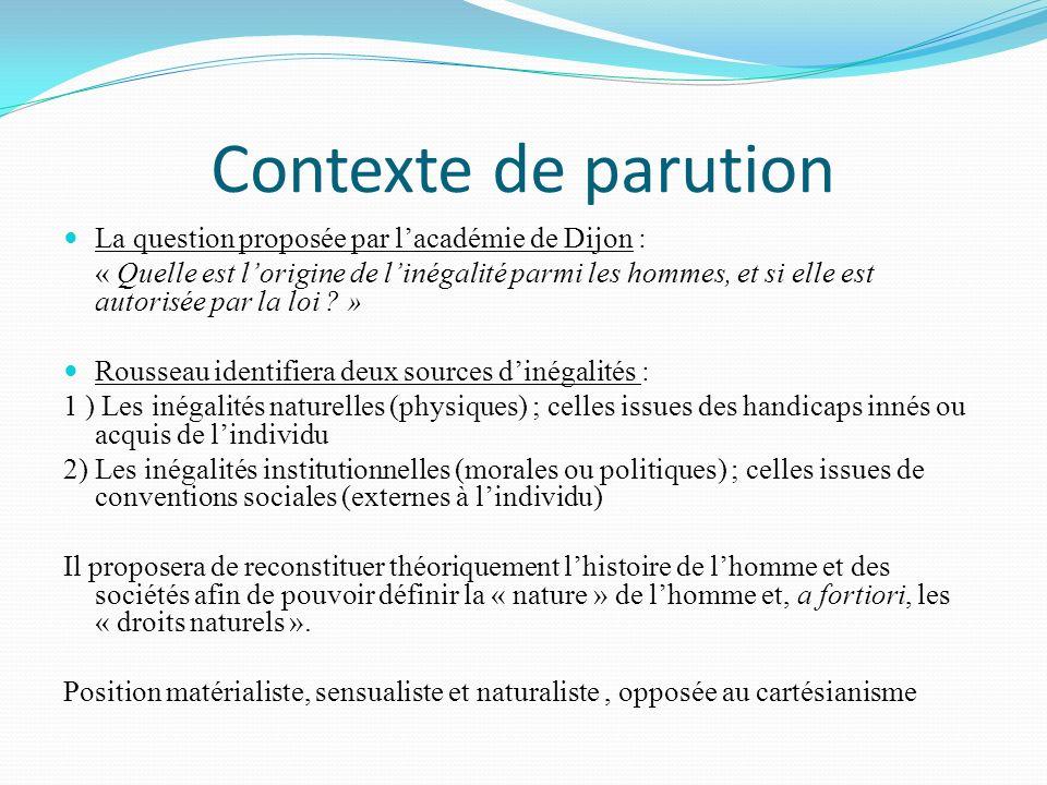 Contexte de parution La question proposée par lacadémie de Dijon : « Quelle est lorigine de linégalité parmi les hommes, et si elle est autorisée par la loi .