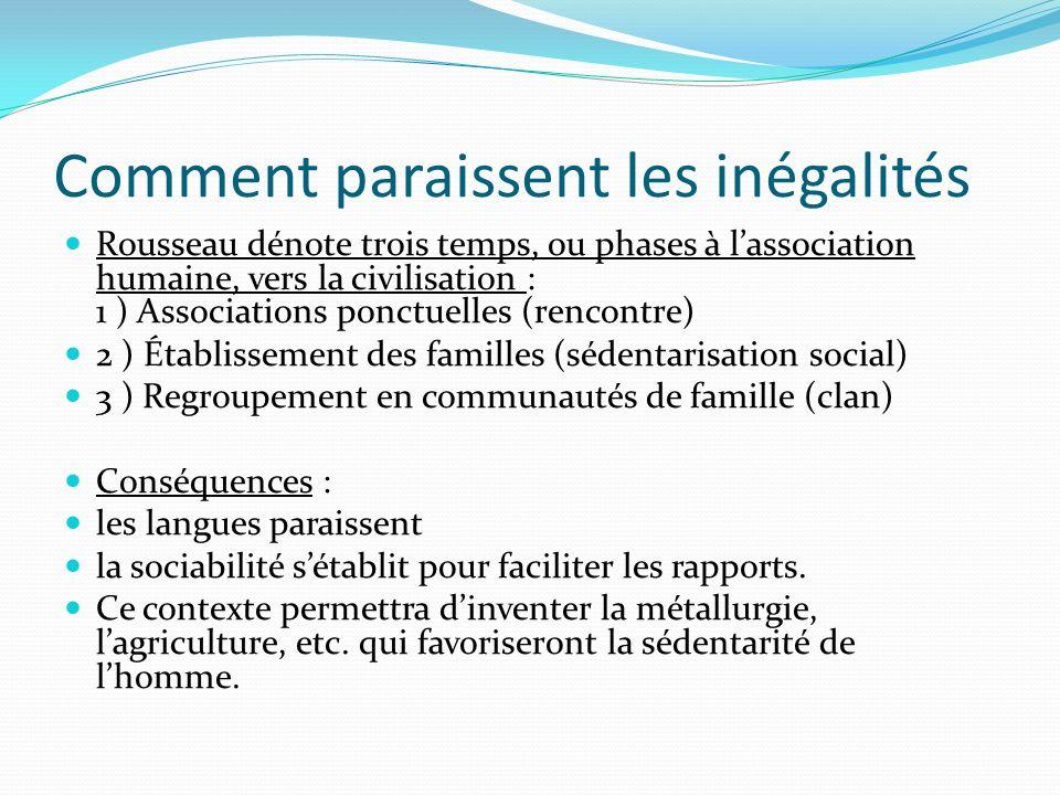 Comment paraissent les inégalités Rousseau dénote trois temps, ou phases à lassociation humaine, vers la civilisation : 1 ) Associations ponctuelles (