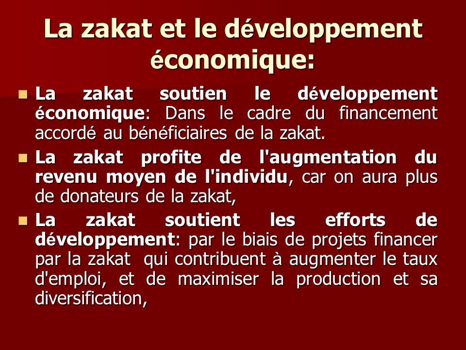 La zakat et le d é veloppement é conomique: La zakat soutien le d é veloppement é conomique: Dans le cadre du financement accord é au b é n é ficiaire