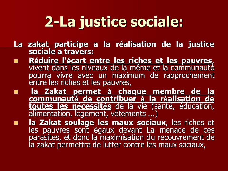 2-La justice sociale: La zakat participe a la r é alisation de la justice sociale a travers: R é duire l' é cart entre les riches et les pauvres, vive