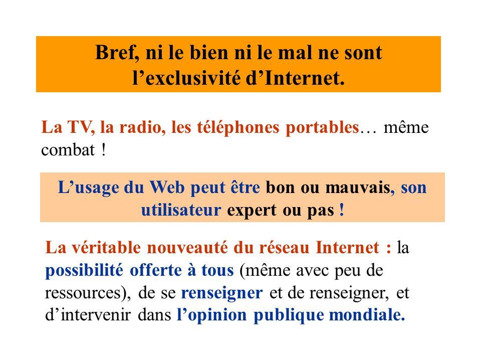 Bref, ni le bien ni le mal ne sont lexclusivité dInternet. La TV, la radio, les téléphones portables… même combat ! La véritable nouveauté du réseau I