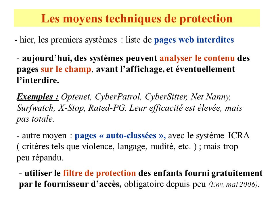 Les moyens techniques de protection - hier, les premiers systèmes : liste de pages web interdites - aujourdhui, des systèmes peuvent analyser le conte