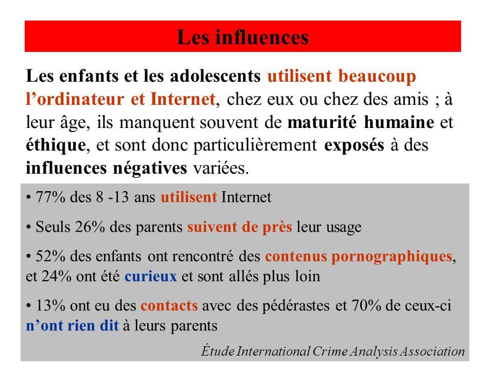 Les enfants et les adolescents utilisent beaucoup lordinateur et Internet, chez eux ou chez des amis ; à leur âge, ils manquent souvent de maturité hu