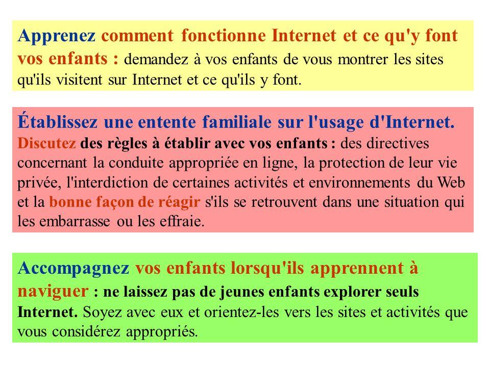 Apprenez comment fonctionne Internet et ce qu'y font vos enfants : demandez à vos enfants de vous montrer les sites qu'ils visitent sur Internet et ce