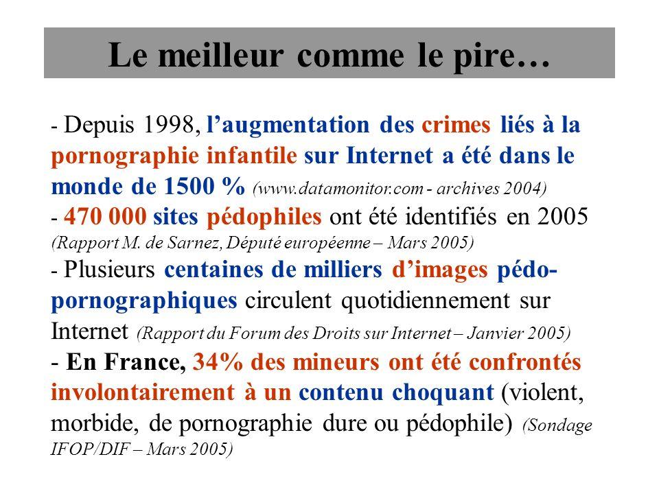 - Depuis 1998, laugmentation des crimes liés à la pornographie infantile sur Internet a été dans le monde de 1500 % (www.datamonitor.com - archives 20