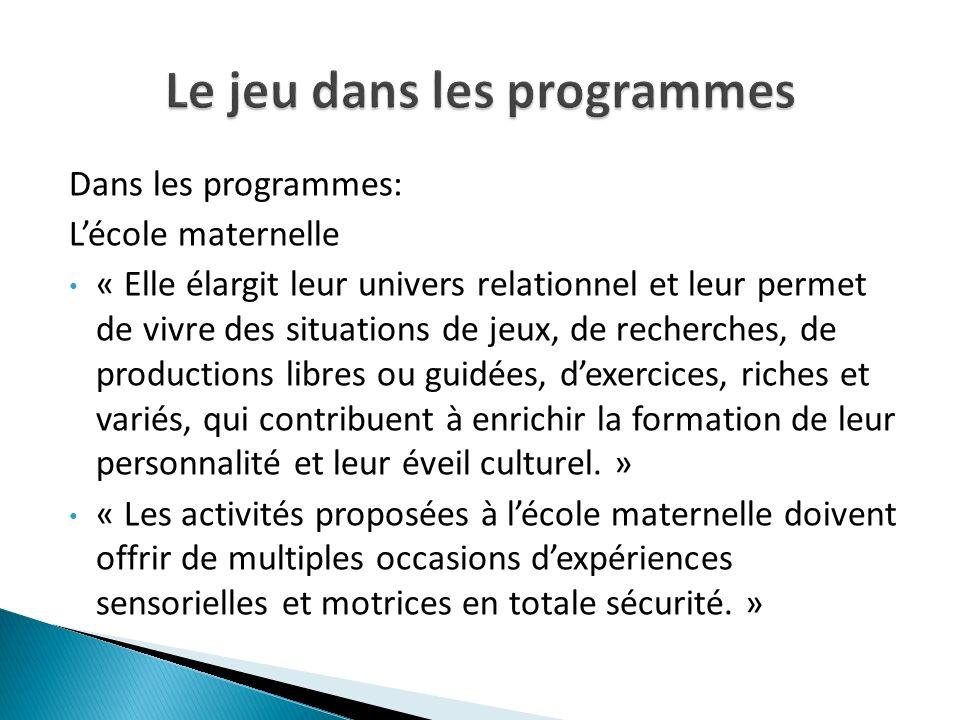 Dans les programmes: Lécole maternelle « Elle élargit leur univers relationnel et leur permet de vivre des situations de jeux, de recherches, de produ