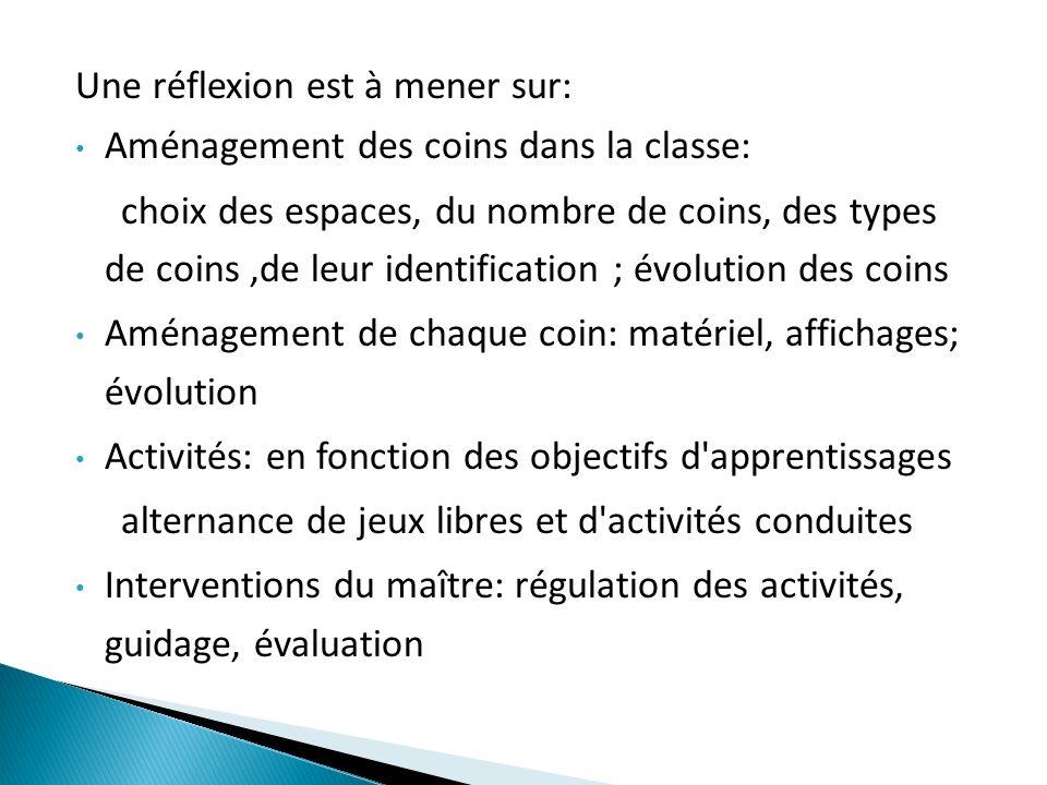 Une réflexion est à mener sur: Aménagement des coins dans la classe: choix des espaces, du nombre de coins, des types de coins,de leur identification