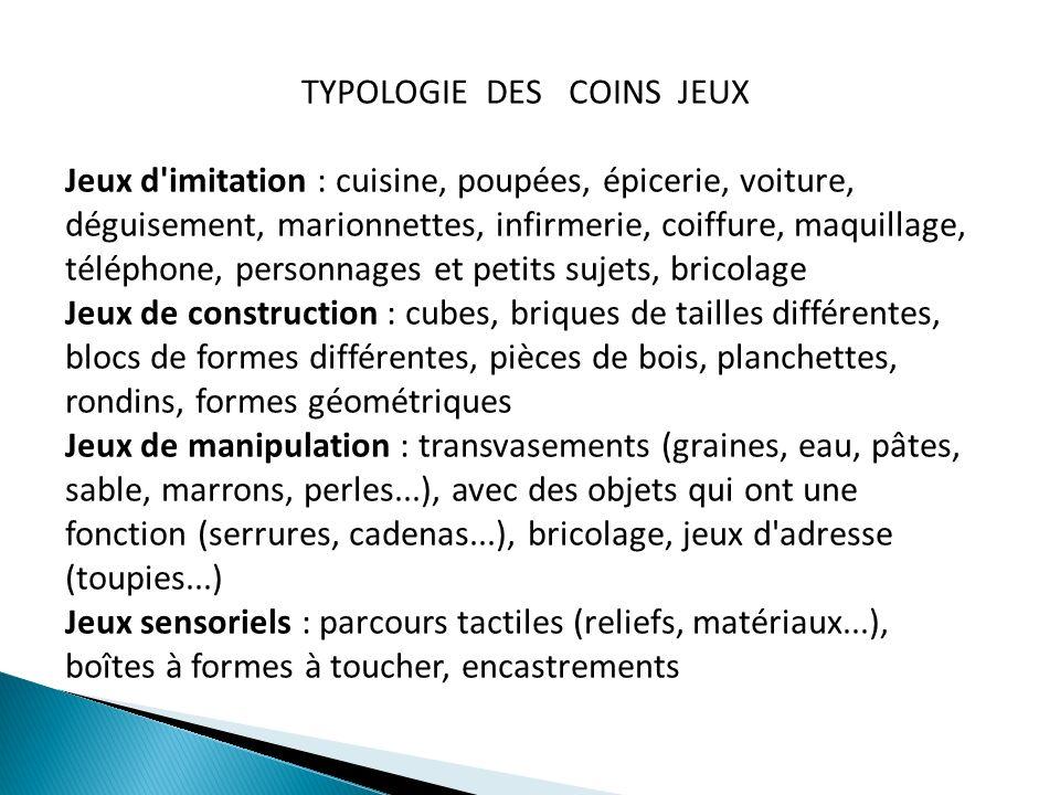 TYPOLOGIE DES COINS JEUX Jeux d'imitation : cuisine, poupées, épicerie, voiture, déguisement, marionnettes, infirmerie, coiffure, maquillage, téléphon