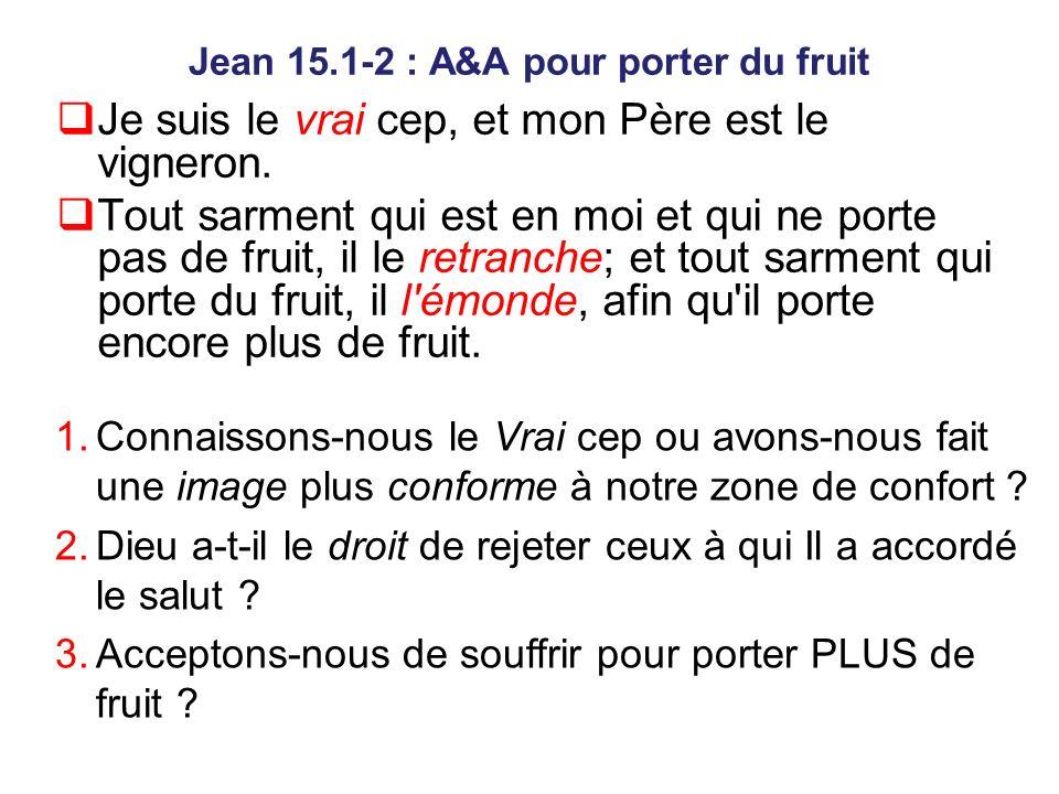 Jean 15.1-2 : A&A pour porter du fruit Je suis le vrai cep, et mon Père est le vigneron.