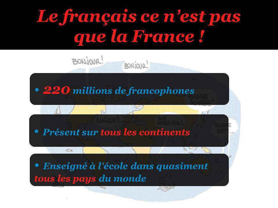 220 millions de francophones Enseigné à lécole dans quasiment tous les pays du monde Présent sur tous les continents