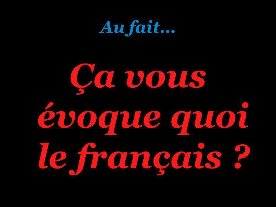 Au fait… Ça vous évoque quoi le français