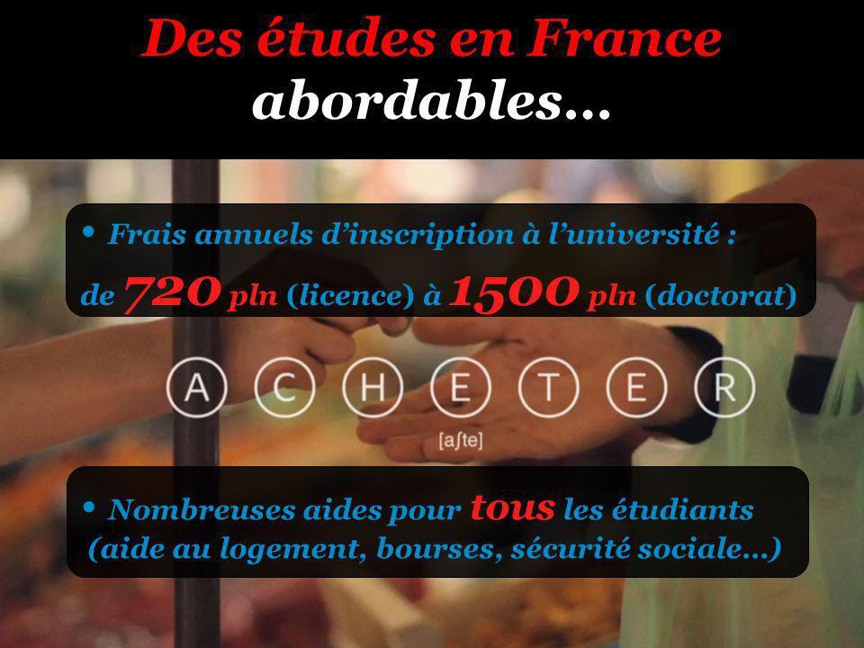 Des études en France abordables… Frais annuels dinscription à luniversité : de 720 pln (licence) à 1500 pln (doctorat) Nombreuses aides pour tous les étudiants (aide au logement, bourses, sécurité sociale…)