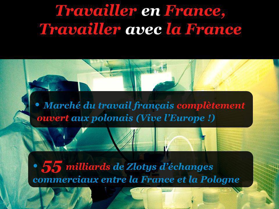 Travailler en France, Travailler avec la France Marché du travail français complètement ouvert aux polonais (Vive lEurope !) 55 milliards de Zlotys déchanges commerciaux entre la France et la Pologne