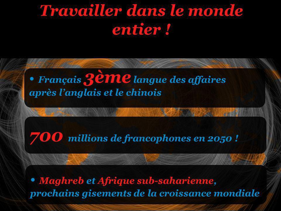 Travailler dans le monde entier . 700 millions de francophones en 2050 .