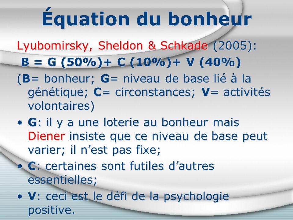 Équation du bonheur Lyubomirsky, Sheldon & Schkade (2005): B = G (50%)+ C (10%)+ V (40%) (B= bonheur; G= niveau de base lié à la génétique; C= circonstances; V= activités volontaires) G: il y a une loterie au bonheur mais Diener insiste que ce niveau de base peut varier; il nest pas fixe; C: certaines sont futiles dautres essentielles; V: ceci est le défi de la psychologie positive.