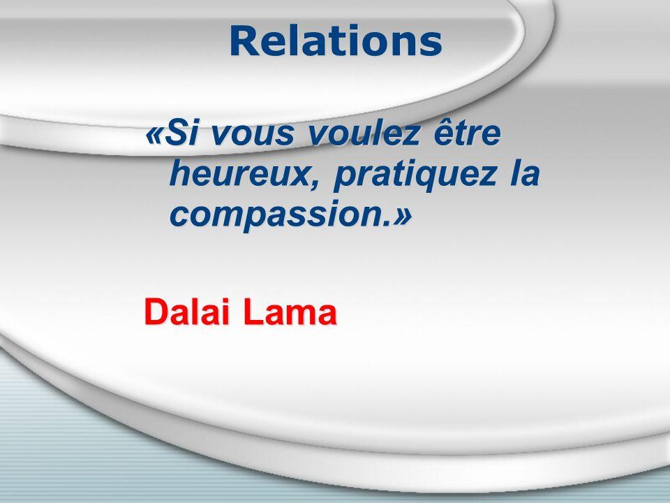 Relations «Si vous voulez être heureux, pratiquez la compassion.» Dalai Lama «Si vous voulez être heureux, pratiquez la compassion.» Dalai Lama
