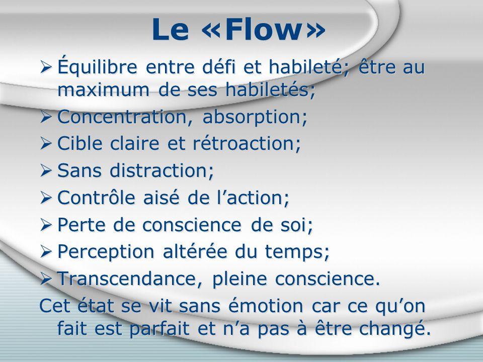 Le «Flow» Équilibre entre défi et habileté; être au maximum de ses habiletés; Concentration, absorption; Cible claire et rétroaction; Sans distraction; Contrôle aisé de laction; Perte de conscience de soi; Perception altérée du temps; Transcendance, pleine conscience.