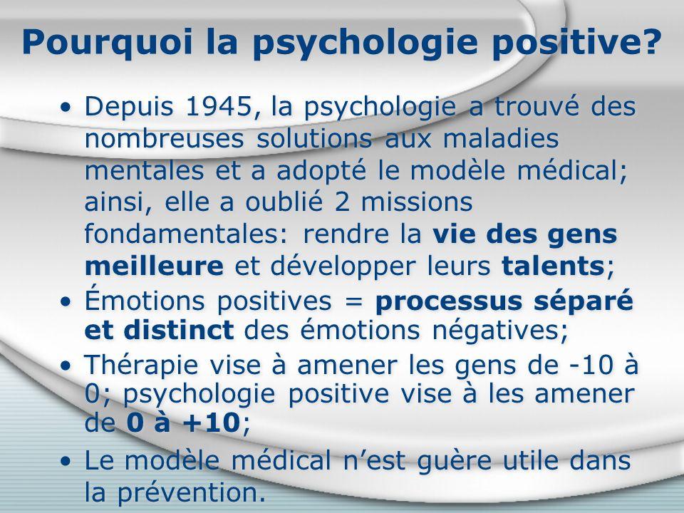 Cultiver la santé physique Bienfaits de lactivité physique: améliore le bonheur, la qualité de vie, le sommeil, le contrôle du poids; réduit la dépression, le stress, la mortalité, le risque de maladie et de désordres cognitifs (Lyubomirsky, 2008); Alimentation saine, sommeil adéquat et suffisant, passer du temps à lextérieur sont associés au bien-être (Haidt, 2006); Trouver une activité qui convienne à votre personnalité et vos intérêts; persévérer, augmenter graduellement la durée ou les efforts.