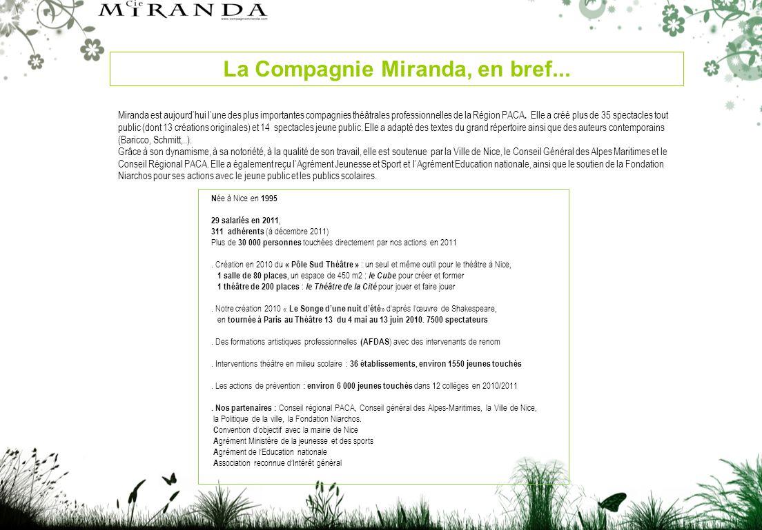 Miranda est aujourdhui lune des plus importantes compagnies théâtrales professionnelles de la Région PACA.