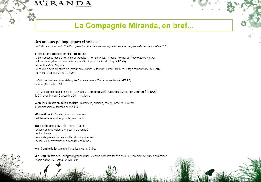 Des actions pédagogiques et sociales En 2006, la Fondation du Crédit coopératif a décerné à la Compagnie Miranda le 1er prix national de linitiative 2006.