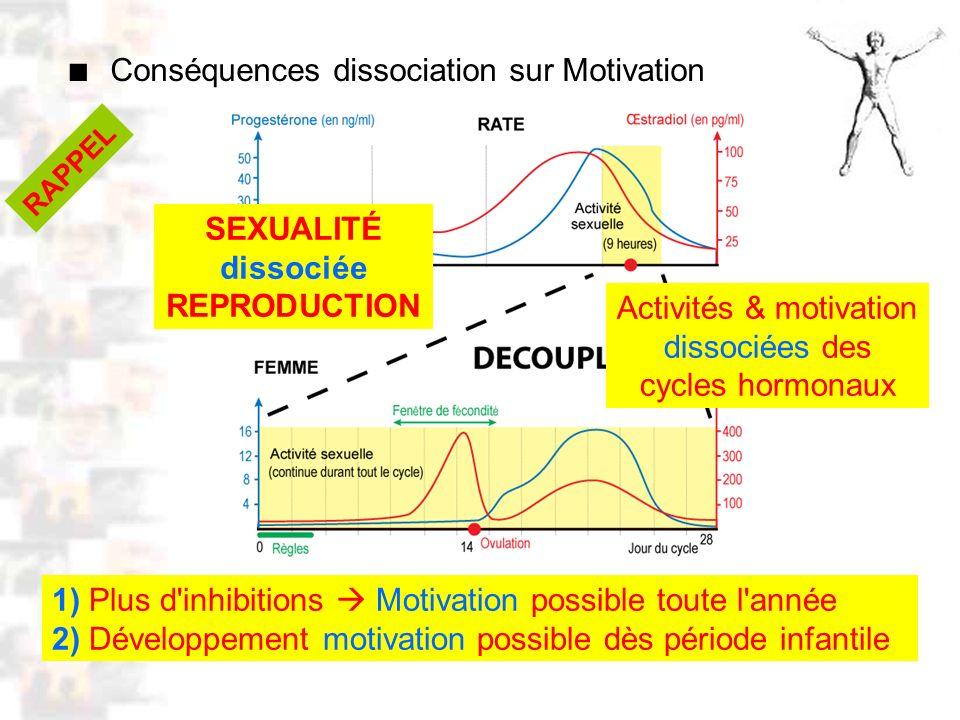 D52 : Modèles : Homme 10 : Renforcement 2 Conséquences dissociation sur Motivation 1) Plus d inhibitions Motivation possible toute l année 2) Développement motivation possible dès période infantile SEXUALITÉ dissociée REPRODUCTION Activités & motivation dissociées des cycles hormonaux RAPPEL
