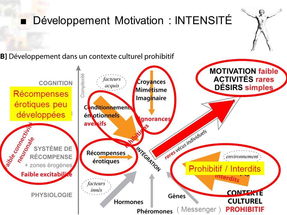 D52 : Modèles : Homme 10 : Renforcement 2 Développement Motivation : INTENSITÉ ( Messenger ) Récompenses érotiques peu développées Prohibitif / Interdits