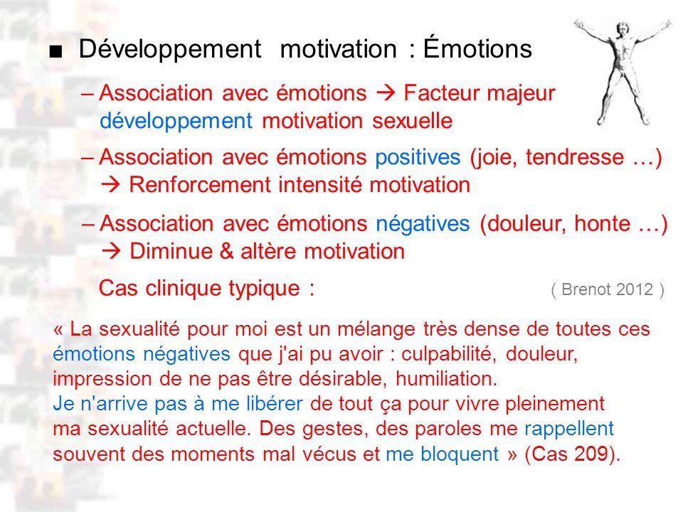D68 : Modèles : Homme 20 : Développement & Dynamique 6 – Association avec émotions Facteur majeur développement motivation sexuelle Développement motivation : Émotions – Association avec émotions positives (joie, tendresse …) Renforcement intensité motivation – Association avec émotions négatives (douleur, honte …) Diminue & altère motivation « La sexualité pour moi est un mélange très dense de toutes ces émotions négatives que j ai pu avoir : culpabilité, douleur, impression de ne pas être désirable, humiliation.